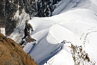 Alpinists on glacier, from Aguille de Midi, Mont Blanc